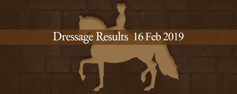Ballavartyn Dressage Results 16/02/19